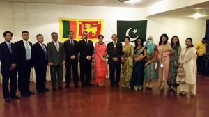 General & Mrs. Srilal Weerasuriya with the officers of Pakistan High Commission.