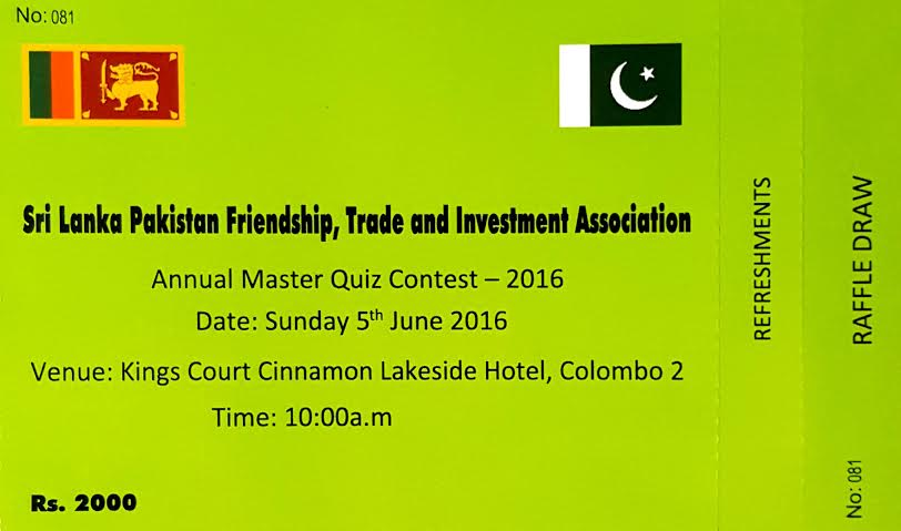 Sri Lanka Pakistan friendship Annual Master Quiz Contest 2016