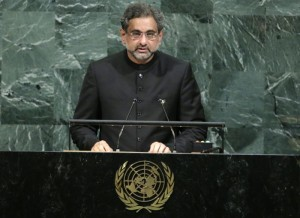 Pakistani Prime Minister Abbasi addresses the 72nd United Nations General Assembly at U.N. headquarters in New York