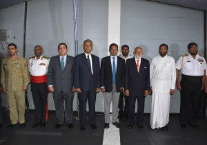 Prominent dignateries of Sri Lankan Government standing with Acting HC on Board