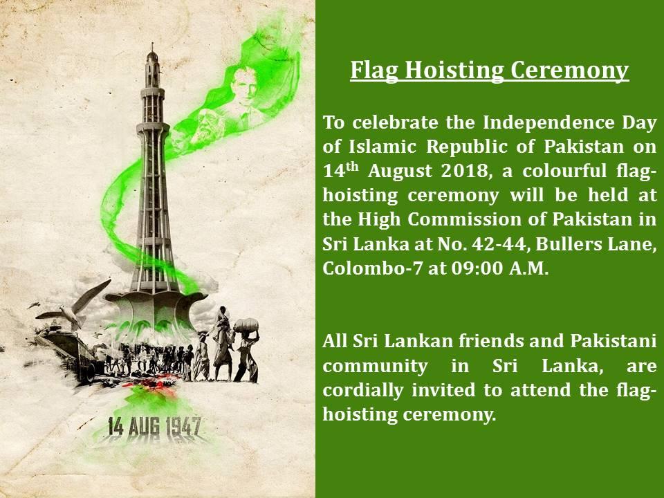 Flag Hoisting ceremony yo mark Independence Day of Pakistan