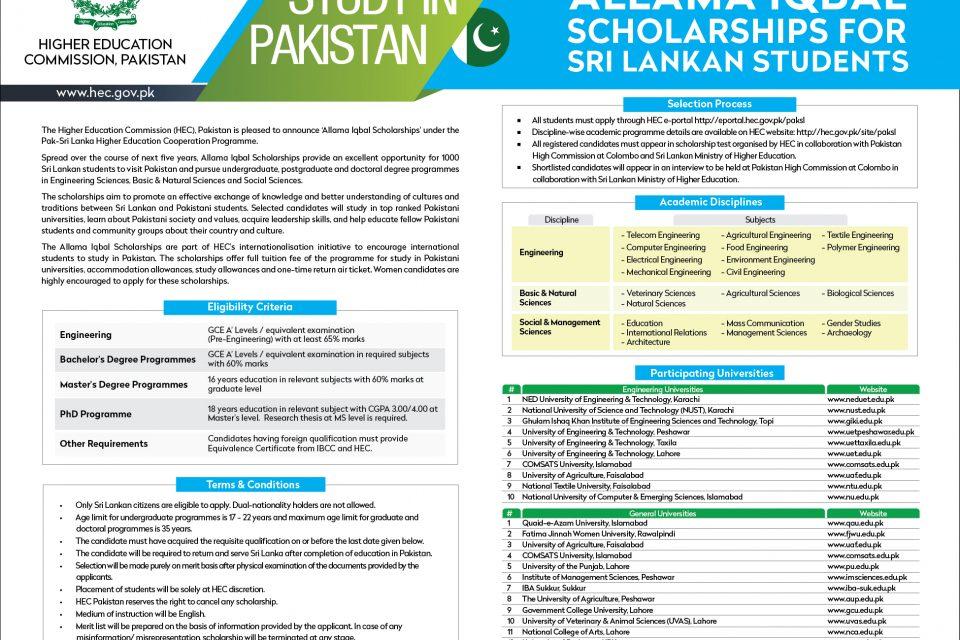Allama Iqbal Scholarships for Sri Lankan students